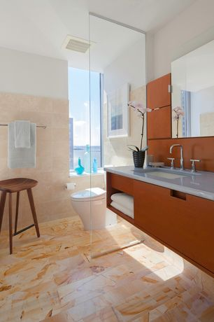 Contemporary Master Bathroom with Caeserstone Quartz Surface - Classico Collection, 4130 Clamshell, Undermount sink, Flush