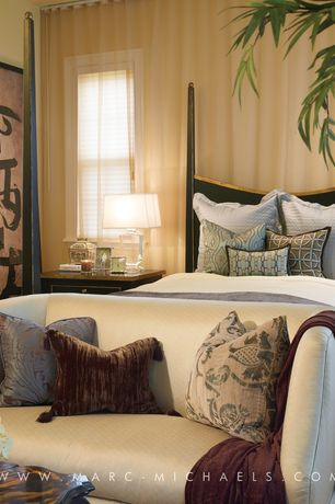 Asian Master Bedroom with Gabby Lincoln Settee, The Shade Store Custom Ripple Fold Drapery: Shimmer Sheer Bronze