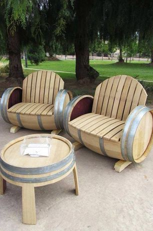 Contemporary Patio with Outdoor seating, Wine barrel chair with arm and back rest, wbc-35