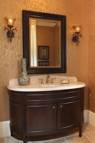 Traditional Powder Room with interior wallpaper, High ceiling, Ms international travertine countertop - durango cream, Flush