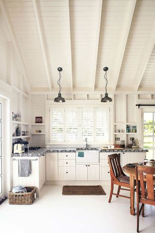 Cottage Kitchen with European Cabinets, mexican tile counters, High ceiling, Paint 1, French doors, Pendant light, Flush