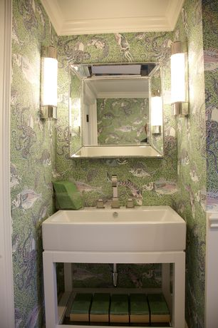 Contemporary 3/4 Bathroom with Abbyson Living Ariel Rectangle Wall Mirror, Console sink, Wall sconce, Crown molding