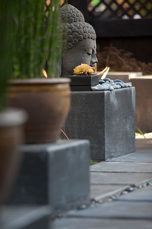 Asian Landscape/Yard with Multy home slate 12 in. x 12 in. stomp stone, Unique garden decor buddha head statue, Paint 1