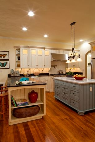 Country Kitchen with Winsome wood saddle seat counter stool, Crown molding, Farmhouse sink, Pendant light, Kitchen island