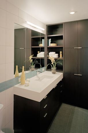 Contemporary Full Bathroom with Powder room, European Cabinets, Large Ceramic Tile, Flush, Built-in bookshelf