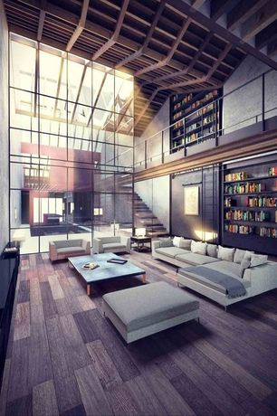 Contemporary Great Room with Loft, Cathedral ceiling, Library ladder, Hardwood floors, Exposed beam, Built-in bookshelf