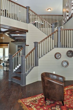 Country Staircase with High ceiling, Hardwood floors