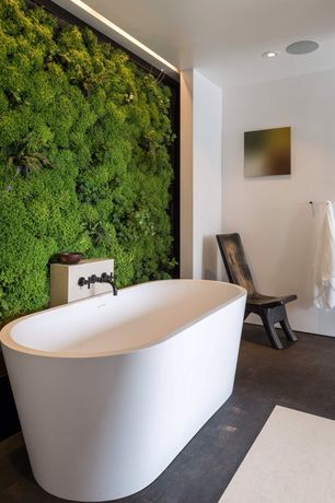 Contemporary Master Bathroom with Living wall, Kingston brass oil rubbed bronze faucet