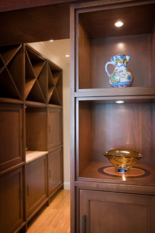 Contemporary Wine Cellar with Hardwood floors, Sauder Homeplus Base Cabinet - Sienna Oak, Kingston Modular X Cube Wine Rack
