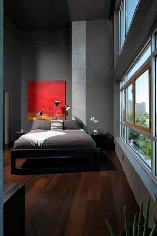 Modern Master Bedroom with interior wallpaper, Hardwood floors, High ceiling