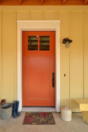 Country Front Door with Streamline Industrial Guard Sconce, Jeld-Wen CUSTOM WOOD GLASS PANEL EXTERIOR DOOR, Glass panel door