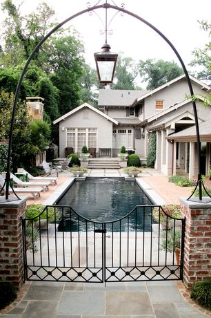 Traditional Swimming Pool with Gate, exterior concrete tile floors, Lap pool, exterior tile floors