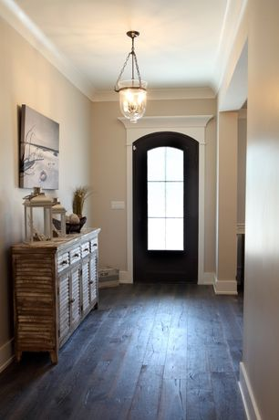 Contemporary Entryway with Hardwood floors, Crown molding, Restoration Hardware 19th C. British Colonial Urn Lantern Pendant