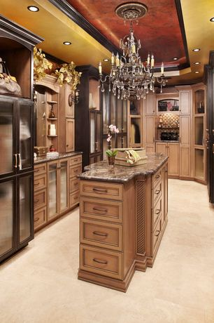 Traditional Closet with Livex Iron and Crystal 8155 Chandelier - 27W in., Built-in bookshelf, Champagne silver leaf box