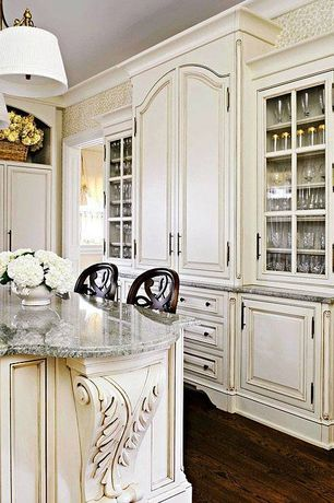 Traditional Kitchen with Granite Countertop in White Galaxy, Island Pendant Light with Drum Shades in Brass Finish, L-shaped