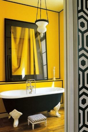 Eclectic Master Bathroom with Hardwood floors, Pendant light, Tres Tintas Hexagono Wallcovering, Master bathroom, Clawfoot