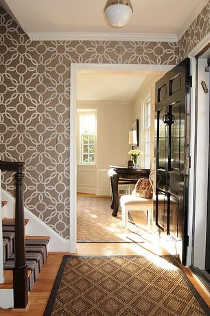 Traditional Entryway with Crown molding, Hardwood floors, Dash and Albert Rugs Woven Birmingham Black Area Rug, flush light