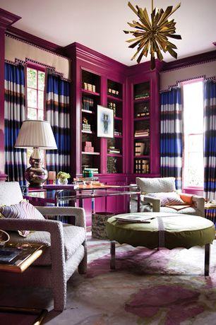 Eclectic Living Room with Chandelier, Custom Inkblot Carpet from Doris Leslie Blau, Crown molding, Built-in bookshelf, Carpet