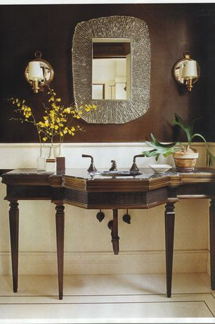 Traditional Powder Room with Sleek Crystal Disc Wall Sconce, Sleek Crystal Disc Wall Sconce, Zola Wall Mirror