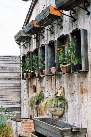 Rustic Patio with Bellevue iron bird shelf brackets, Weathered wood paneling, Naples window box planter, Rustic flower boxes