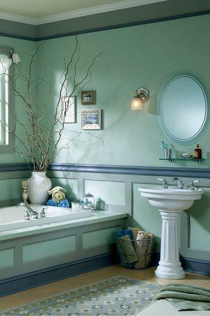 "Traditional Master Bathroom with Crown molding, Signature Hardware WYNDHAM PEDESTAL SINK 12"" CENTER WHITE, Master bathroom"
