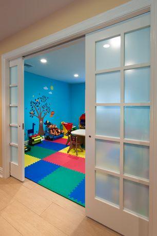 Modern Playroom with Mural, Kidkraft lil' symphony piano, Shoji door, Laminate floors, can lights, Standard height, Paint