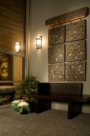 Asian Entryway with High ceiling, Interlude home yuko wooden bench, Wall sconce, Dvi essex 1 light wall sconce