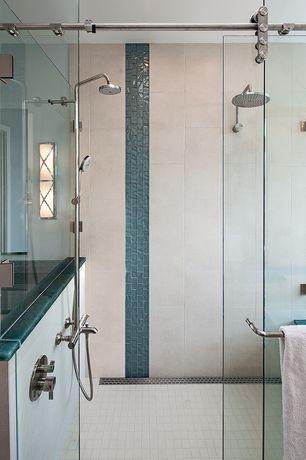 Contemporary 3/4 Bathroom with Rain shower head, Paint, Hafele - antra sliding door hardware for glass doors
