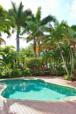 Tropical Swimming Pool with Pathway, exterior tile floors, Raised beds