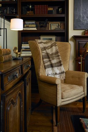 Traditional Living Room with Lodge Stripe Wool Throw Blanket, Fairfield Chair Shaped Back Transitional Wingback Chair
