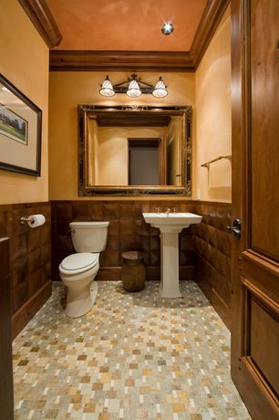 Craftsman Powder Room with Capital lighting river crest 3 light rustic iron vanity fixture, Pedestal sink, Powder room