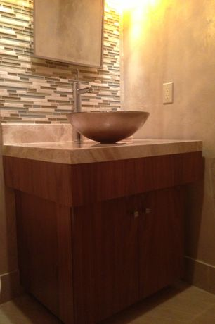Contemporary Powder Room with Bedrosians Random Sized Mosaic Interlocking Stone/Glass Blends in Long Island Manhattan Glass