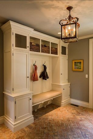 Traditional Mud Room with Havana utility baskets, Build you own family modular cabinets, Built-in bookshelf, Chandelier
