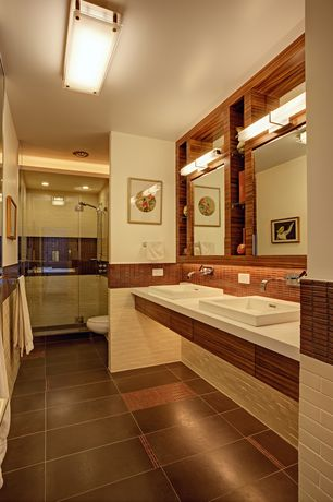 Contemporary Master Bathroom with Flush, Handheld showerhead, Daltile Natural Hues Vanilla Ceramic Field Tile, Double sink