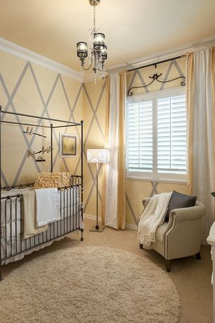 Kids Bedroom with interior wallpaper, Safavieh hand-woven posh ivory wool shag rug, Chandelier, Carpet, Crown molding