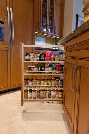 Traditional Pantry with Pull-out spice rack, travertine tile floors, Kitchen storage, High ceiling, Built-in bookshelf
