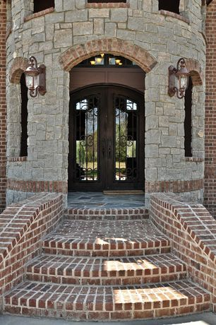 Traditional Front Door with Transom window, exterior brick floors, Pathway, French doors