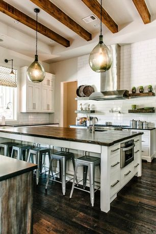 Cottage Kitchen with Kitchen island, Tabouret 30-inch metal barstools, Pendant light, Undermount sink, Inset cabinets