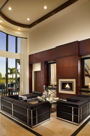Contemporary Living Room with can lights, insert fireplace, Fireplace, flat door, High ceiling, specialty window