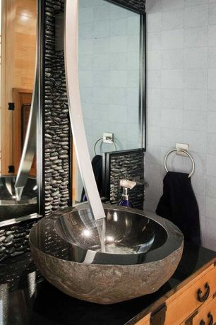 Contemporary Powder Room with Powder room, Inset cabinets, European Cabinets, Vessel sink, Soapstone counters