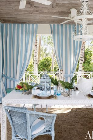 Eclectic Porch with Screened porch, White chandelier, Outdoor curtain, Covered deck, Ceiling fan, Outdoor rug