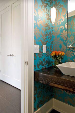 Eclectic Powder Room with Z Gallerie Perspective Mirror, interior wallpaper, Vessel sink, High ceiling, specialty door