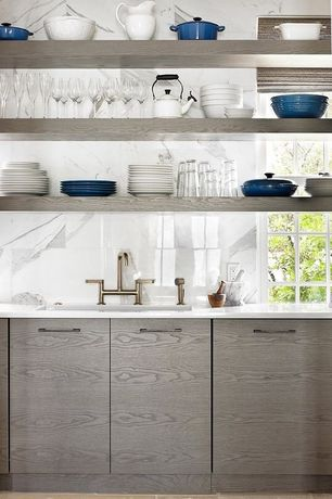 Modern Kitchen with One-wall, European Cabinets, Complex Marble, Chantal Tea Kettles Classic in Enamel-on-Steel -1.8 Quart