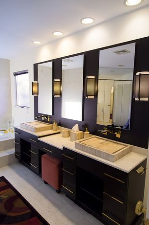 Contemporary Full Bathroom with Flush, Wall sconce, European Cabinets, Vessel sink, Master bathroom, Corian counters