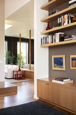 Modern Hallway with Laminate floors, Engineered hardwood flooring, Built-in bookshelf