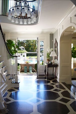 Traditional Entryway with Wainscotting, Pattern Stained Wood Floor, Potted Phalaenopsis White Orchid, Hardwood floors