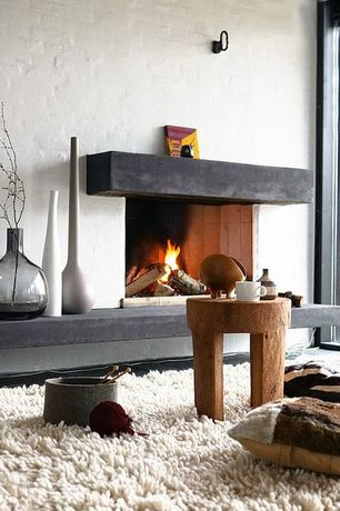 Contemporary Living Room with Carpet, Cement fireplace, Indoor painted brick, High pile shag rug