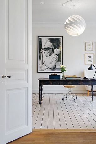 Contemporary Home Office with Pottery barn airgo swivel desk chair, Paint 1, Ikea fillsta pendant lamp, Crown molding, Paint