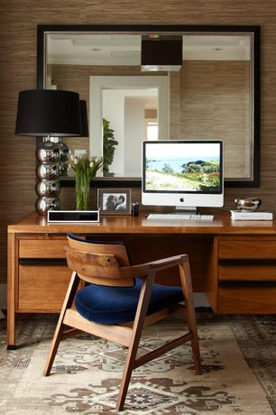 Contemporary Home Office with flush light, Standard height, interior wallpaper, Carpet, can lights