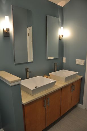 Contemporary Full Bathroom with Kohler Catalan Mirrored Cabinet, Wall mount faucet, Ceramic vessel sink, Wall sconce